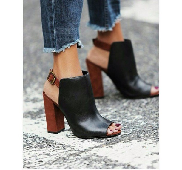 Black Boots Brown Heel