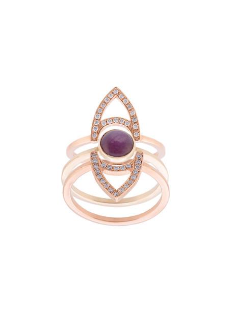 Kwit Jewelry rose gold rose women ring gold grey metallic jewels