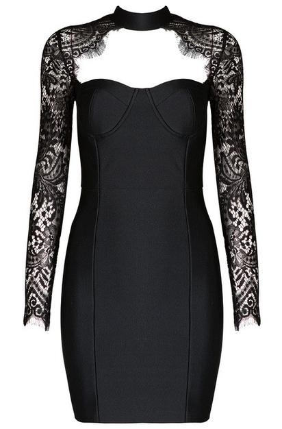 Lace Long Sleeve Bustier Bandage Dress Black