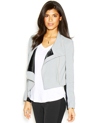 RACHEL Rachel Roy Long-Sleeve Colorblocked Cropped Jacket - Jackets & Blazers - Women - Macy's