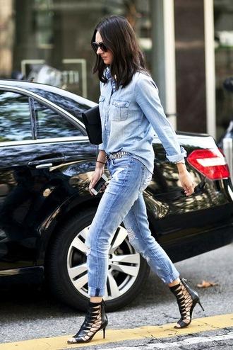 le fashion image blogger sunglasses shirt bag belt jeans shoes