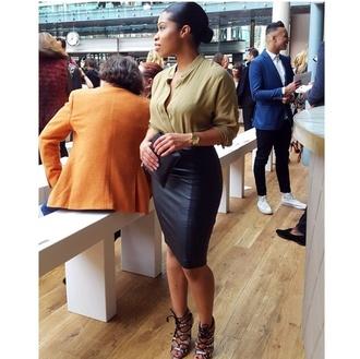 blouse long skirt green blouse skirt leather skirt long sleeves red lime sunday