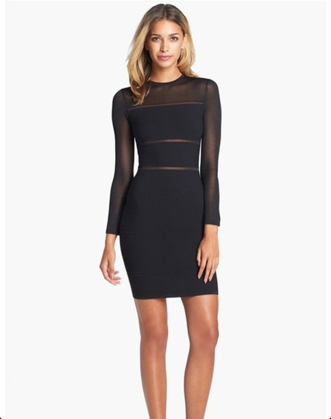 Dress Black Long Sleeve Dress Bodycon Sheer See Through Mesh
