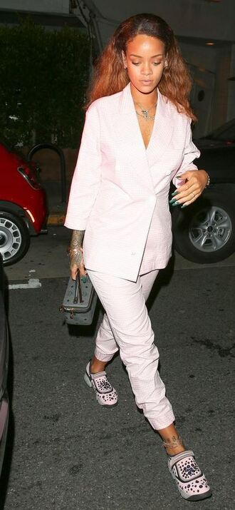pants jacket suit blazer sneakers rihanna shoes