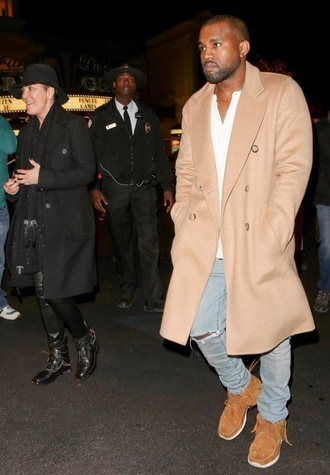 beige camel menswear kanye west coat shoes