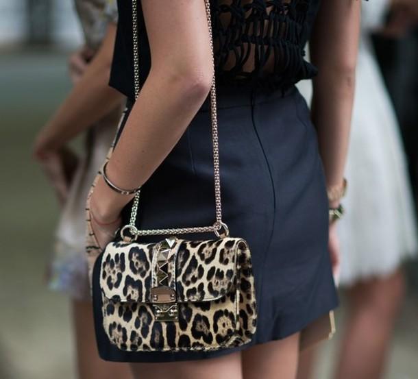 dress skirt top leather bag clutch leopard print chain chain bag