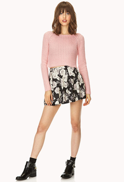skirt floral skater skirt black white