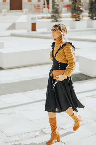 mi aventura con la moda blogger sweater dress bag shoes scarf mustard sweater midi dress boots yellow shoes winter outfits