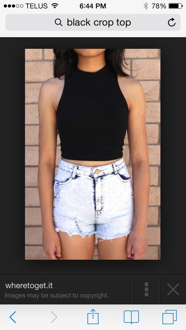 shirt black crop top