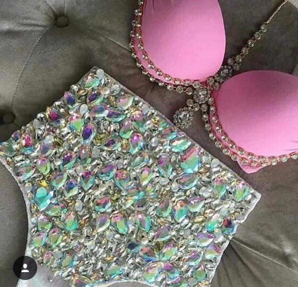 shorts sequins pink glitter bling bikini swimwear rhinestones high waisted bikini