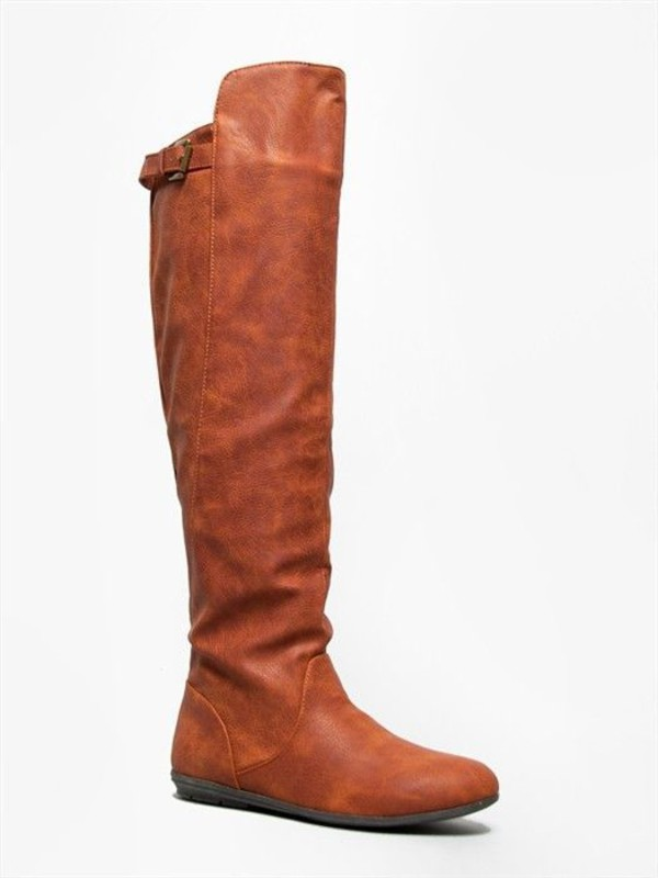 cognac leatherette knee high boots