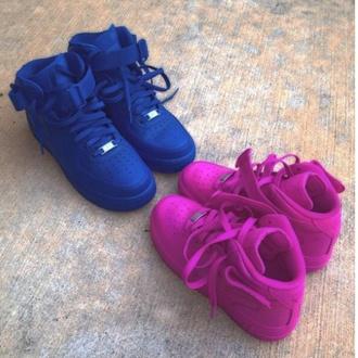 shoes purple hightop nike air force 1 nike running shoes nike sneakers nike high tops nike air custom shoes blue shoes cute shoes purple shoes high top sneakers pink nikes