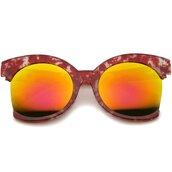 sunglasses,oversized,mirror,cat eye,red,oversized sunglasses,mirrored sunglasses,red sunglasses