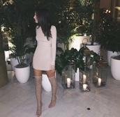 shoes,thigh highs,gladiators,nude heels,dress,dress nude,nude,long sleeves,brunette,mini dress,clubwear