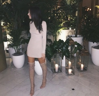 shoes thigh highs gladiators nude heels dress dress nude nude long sleeves brunette mini dress clubwear