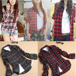 Online Shop Spring Fashion 13 Colors Womens Tops Casual Blouse Turndown Collar Long Sleeve Plaids Print Pattern Flannel Shirt J3820|Aliexpress Mobile