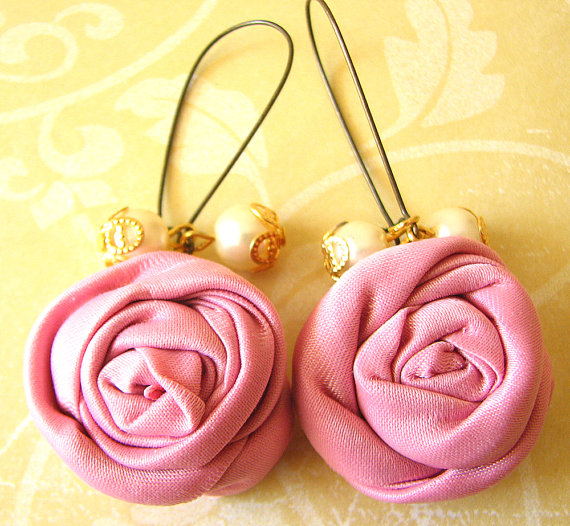 Flower earrings fabric jewelry dangle earrings pink par zafirenia