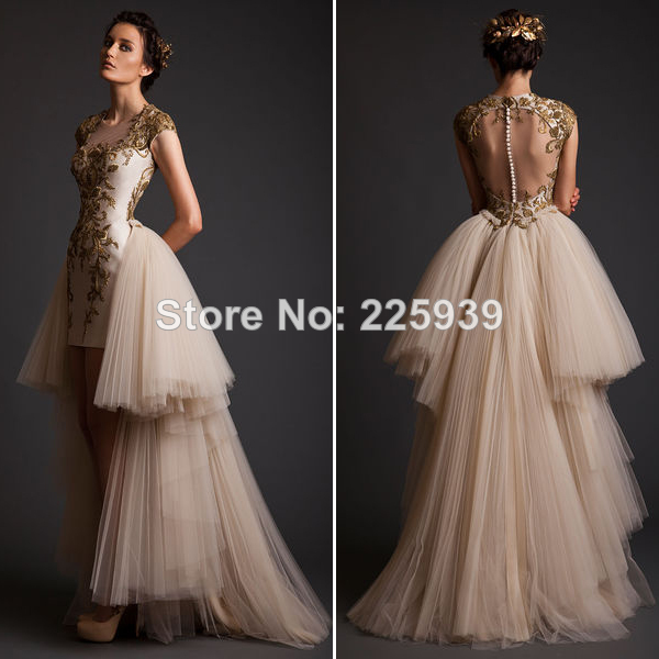Aliexpress.com : Buy 2014 Krikor Jabotian Square Neck Cap Short Sleeves Golden Appliques Front Short Fashion Couture Evening Dress Beautiful Backless from Reliable cap sleeve lace dress suppliers on Tracy Me
