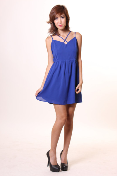 Criss Cross Skater Dress with Open Back - Blue | Lavo Collections
