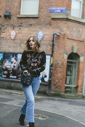 what olivia did...,blogger,sweater,bag,belt,jeans,shoes,embroidered,rose embroidered