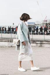skirt,knitted skirt,white skirt,knitwear,midi skirt,sweater,white sweater,fluffy,coat,grey coat,streetstyle,bag,white bag,slip on shoes,white shoes,fall outfits