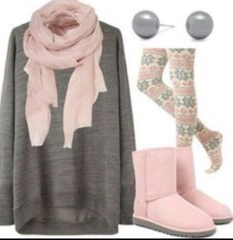 shirt leggings scarf earrings boots patterned leggings sweater grey sweater pink scarf grey earrings pink boots