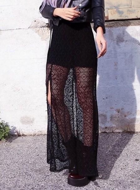 skirt black lace long flow grunge dress