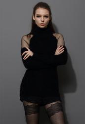 sweater,polo neck,fluffy,black