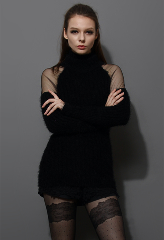 sweater polo neck fluffy black