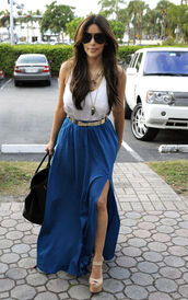 dress,belt,shoes,skirt,blue skirt,kim kardashian,keeping up with the kardashians,sunglasses,royal blue maxi,blouse,slit skirt,slit maxi skirt