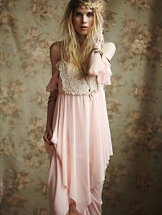 dress lace dress boho dress chiffon boho pink dress chiffon dress irregular dress irregular cut romantic