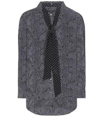 shirt oversized silk grey top