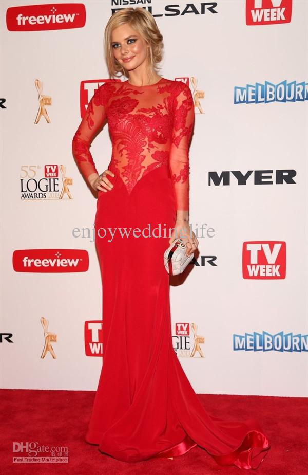 Cheap Celebrity Dresses - Discount Samara Weaving Sexy Red Sheer Long Sleeves Chiffon Online with $127.69/Piece | DHgate