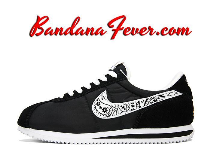official photos eb30c 6f32f Custom Black Bandana Nike Cortez Nylon Black White,  paisley,  Nike  Shoes,  by Bandana Fever