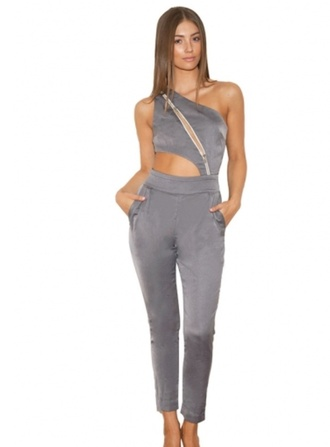 jumpsuit crepe grey stone grey zip grey jumpsuit one shoulder one shoulder jumpsuit abellelife