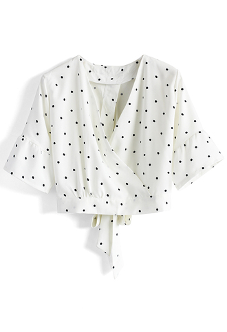 top dotted white top with bowknot decor chicwish white bowknot white top