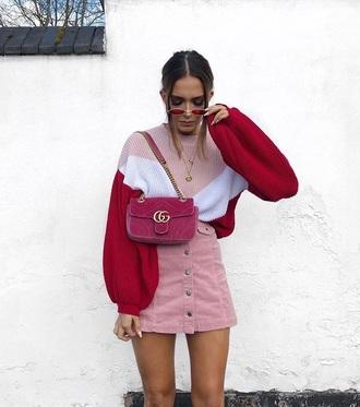 skirt mini skirt pink skirt corduroy sweater knit knitted sweater bag button up