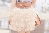 pink skirt,crinoline,skirt,puffy,white,cute,belt,pretty,cream,fluffy,layered,frilly skirt,bag,blouse,..