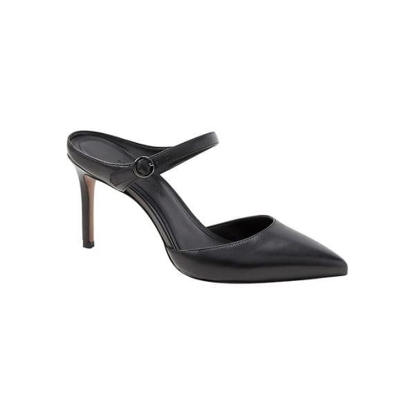 Banana Republic Women's High-Heel Mule Pump Black Leather Regular Size 6