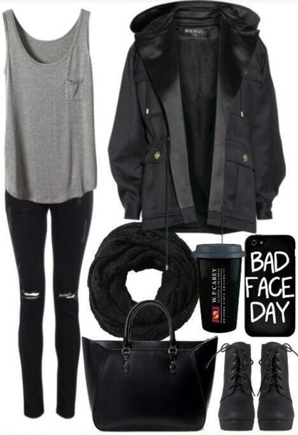 Black Coat Jacket Tumblr Outfit Tumblr Jacket Style