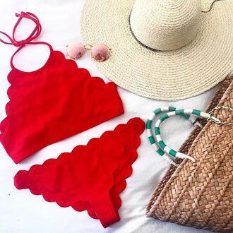 swimwear tumblr red swimwear scalloped bikini bikini top bikini bottoms red bikini hat straw hat sun hat straw bag bag sunglasses pink sunglasses mirrored sunglasses