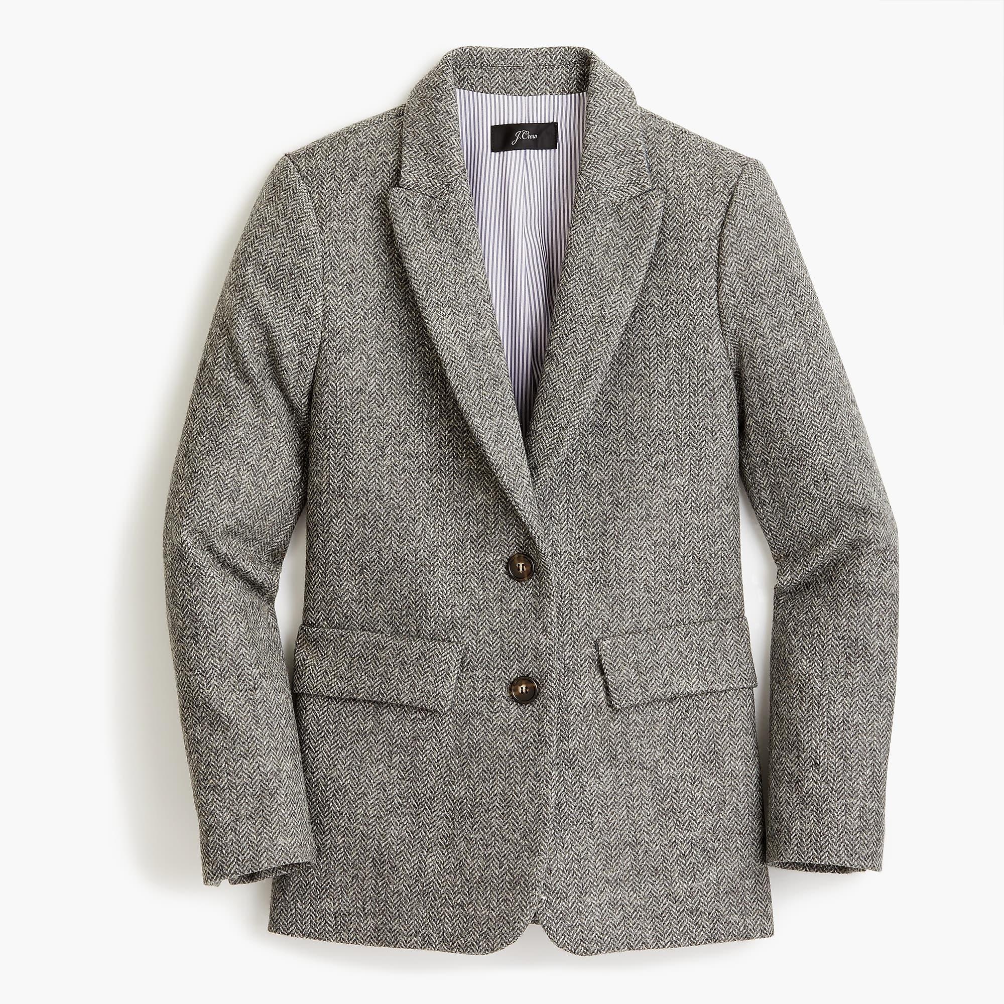 Petite boyfriend blazer in English herringbone wool