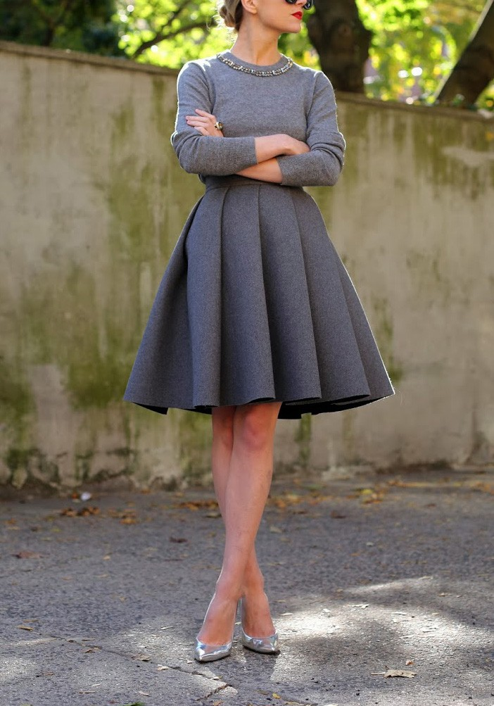 Vintage Grey Ruched Winter Skirts 1950s | ReoRia