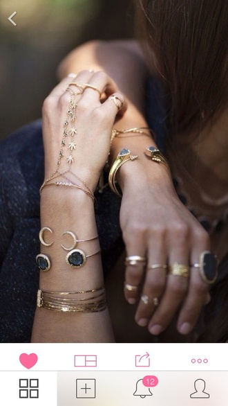 jewels weed marijuana jewelry moon moon bracelet gold earrings gold midi rings bracelets stacked bracelets hand jewelry hand chain gold jewelry boho boho chic boho jewelry ring