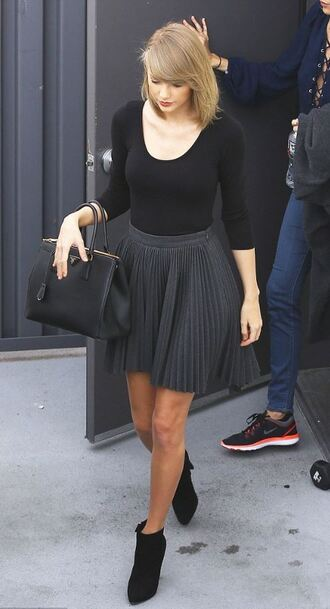 skirt ankle boots fall outfits taylor swift purse pleated pleated skirt high low skirt high low