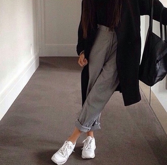 pants gray pants oversized coat black coat coat boyfriend jeans white shoes fresh cool trend trending trendy style stylish well dressed teen fashion inspo chill casual grunge on point clothing