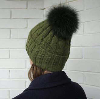 hat cashmere hat beanie olive green hat green hat cashmere beanie fur pom pom hat cable knit
