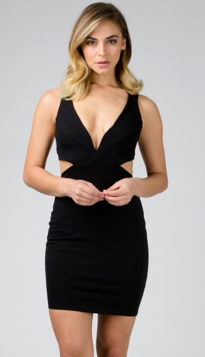 Sweetheart cutout ponte dress