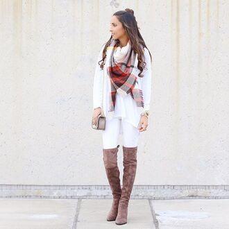 scarf plaid plaid scarves plaid scarfs thigh high boots suede boots suede thigh high boots white brown white jeans white ripped jeans white ripped denim blogger top blogger lifestyle