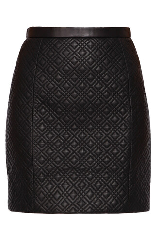skirt leather skirt quilted leather black